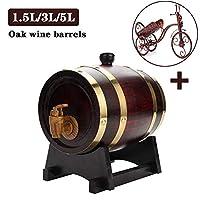 タップ付き1.5 / 3 / 5L木樽ワイン樽木製の樽ウイスキー樽ワイン樽木樽+スタンド家庭用ストレージバケツビール樽ワイン樽ディスペンサー (Color : Brown, Size : 3L)