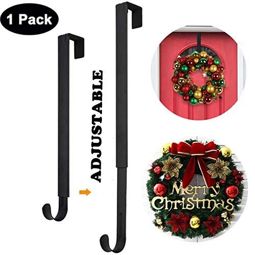 Wreath Hanger,Adjustable Wreath Hanger for Front Door from 14.9-25 Inch,20 lbs Larger Door Wreath Hanger Christmas Wreaths Decorations Hook,Black
