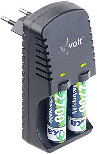 reVolt Ladegerät Batterien: NiMH- & NiCd-Akku-Ladegerät für Typ AA(A), inkl. 2 AAA-Akkus 1.000 mAh (2/3 AAA Akku Laden)