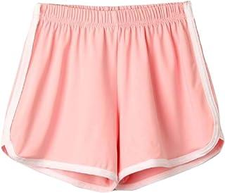 MU2M Women's Gym Summer Yoga Workout Elastic Waist Beach-Shorts Sports Shorts