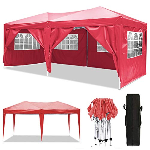 Oppikle 3x3m/3x6m Gazebo, Waterproof Garden Gazebo with 4 Side Panels,Adjustable Marquee Tent with Carry Bag,Powder Coated Steel Frame for Beach/Instant Shelter/Flea Market/Camping/Wedding (3x6m Red)