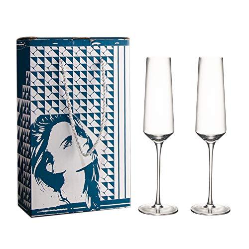2 copas de champán, cristal transparente hecho a mano, copas de champán, fiesta, cena