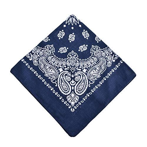 Yener katoenen bandana sjaal vierkante hoofddoek dames heren hiphop fiets bandana motorfiets bandana hoofddeksels sjaals hijab, DONKERBLAUW, one size