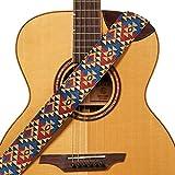 Amumu Guitar Strap Multicolor Retro Triangle Pattern Design for Acoustic, Electric and Bass Guitars - 2'' Wide
