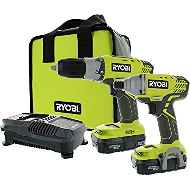 Ryobi P1832 18V One+ Handheld Drill/Driver and Impact Driver Kit (6 Piece Bundle, 1x P277 Drill/Driver, 1x P235 Impact Driver, 1x P118 Dual Chemistry Charger, 2x P102 18V Batteries, 1x Tool Bag)