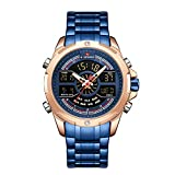 Mens Wrist Watch, Waterproof Analog Digital Watches with LED Backlight Multifunction Military Watch, Stainless Steel Business Watches for Men