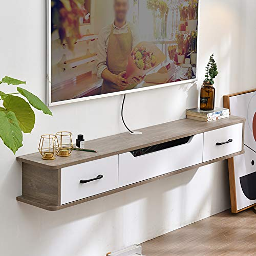 LIUFS Meuble TV Mural avec tiroir Étagère Murale Étagère Flottante Armoire Murale Suspendue Décodeur routeur CD DVD Meuble de Rangement Console TV Meuble TV Étagère TV Table de Chevet 1,3 M