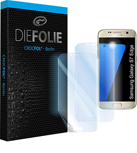 Crocfol Schutzfolie vom Testsieger [2 St.] kompatibel mit Samsung Galaxy S7 Edge - selbstheilende Premium 5D Langzeit-Panzerfolie - für vorne, hüllenfre&lich