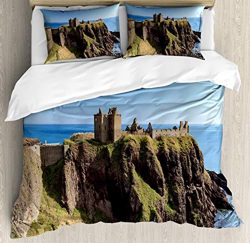 ABAKUHAUS Schotland Dekbedovertrekset, Dunnottar Castle Blue Sky, Decoratieve 3-delige Bedset met 2 Sierslopen, 230 cm x 220 cm, Veelkleurig