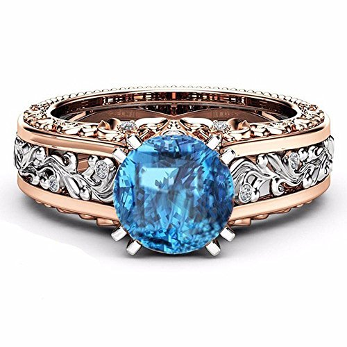 Goddesslili Silver Blue and White Rose Gold Rings for Women Girlfriend Gemstone Vintage Large Wedding Engagement Anniversary Simple Jewelry Gift Under 5 Dollars (7)