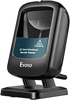 Eyoyo 2D Wired Desktop Barcode Scanner, Hands-Free 1D 2D PDF417 Data Matrix Bar code Reader, Wake Up Automatically, Screen...