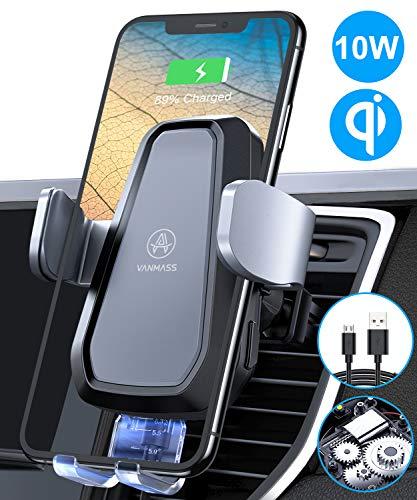 VANMASS Qi Ladestation Auto Wireless Charger Auto Lüftung Upgrade Motor Betrieb 10W Automatische Handyhalterung Auto mit Built-In Akku Qi Ladegerät für Qi-Handys iPhone 11/XR/8P Samsung S20/S10/S9/S8