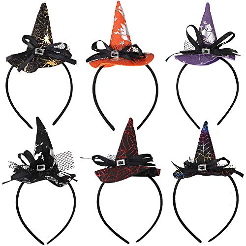 Diademas de Halloween,6 Piezas Sombrero de Bruja Diadema Aro de Pelo Disfraz Disfraces Accesorios para el Cabello Araña Calavera Murciélago Diadema de Bruja para niñas y Mujeres Fiesta de Halloween
