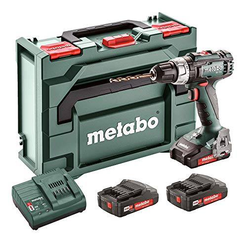 Metabo 602321540 Akku-Bohrschrauber BS 18 L Set 18V, 3x 2Ah Li-Ion Akkus, inklu. Ladegerät, im Koffer, max. Drehmoment: 25Nm (weich)/ 50Nm (hart), Bohr-Ø: 10mm (Stahl)/ 20mm (Weichholz)