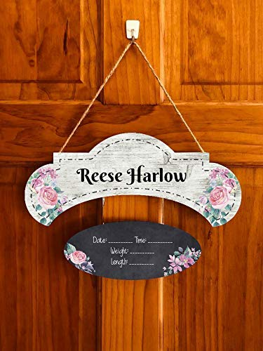 Custom Name Hospital Door Hanger Wood Trendy Baby Girl Sign Baby Girl Nursery Sign Baby Shower Gift Gender Reveal Gift Childrens Door Tag