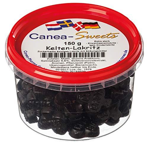 Canea-Sweets Extrastarkes zuckerfreies Salzlakritz, KELTEN Lakritz zuckerfrei Dose, 1er Pack (1 x 150 g)