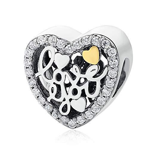 Dian Jewellery' i Love You' Calado Charm Corazón 925 Plata de Ley - Pulsera Charm para Charm Pandora Pulseras, San Valentín, Cumpleaños, de la Madre Regalo Dia Chapado en Oro Charms para Pulsera