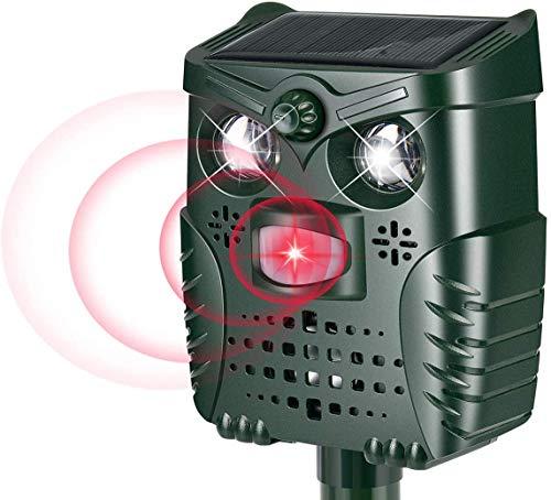 PewinGo Ahuyentador Ultrasónico Para Animales Carga Solar y USB, Exterior