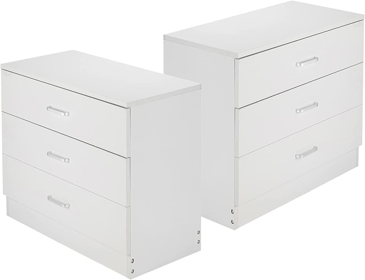 Set of 2 Nightstand White Wide 3 Drawers Dresser Wooden Storage Cabinet Drawers Chest Night End Table for Home Office Bedroom Livingroom Entryway (2 Pack, White, 3 Drawers)