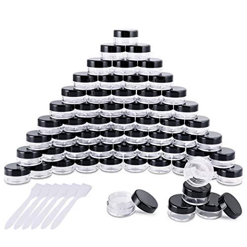 60 Pièces Pots Cosmétiques Vide en Plastique Clair De Voyage Conteneurs Cosmétiques Pot Échantillon pour Lotion, Crème, Stockage de Maquillage (5g / 5ml, Noir)