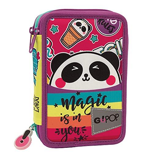 Giochi Preziosi GoPop 21 Panda Magic Astuccio Triplo, Completo di Matite Colorate, Pennarelli, Penne, Gomma, Temperino, Righello e Forbice, GG9G4400
