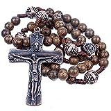 Nazareth Store Notre père bois chapelet perles avec belle et grand crucifix croix antique