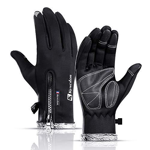 Lixada Hiver Gants Chauds Polaire Coupe-Vent Étanche Écran Tactile Sport Cyclisme Ski Vélo Gants de Travail en Plein Air Noir/Gris/Rose