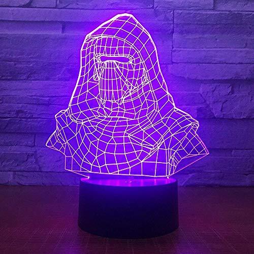 Luces De Ilusión 3D Lámpara De Tabla Para Decoración Del Hogar Hombre Máscara 7 Colores Cambio De Botón Táctil Usb De Suministro De Energía Cumpleaños Navidad Festival Regalos Para Para Niños