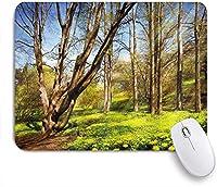 PATINISAマウスパッド 自然春の森の花畑と木々晴れた空の風景の中の夢のようなエコ ゲーミング オフィス おしゃれ 耐久性が良い 滑り止めゴム底 ゲーミングなど適用 マウス 用ノートブックコンピュータマウスマット