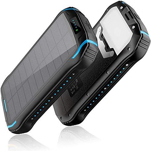 zyr Cargador Solar 26800Mah Power Bank Portátil, Cargador Rápido con Panel De Luz Ultrabrillante, Batería Solar Externa para Acampar Al Aire Libre
