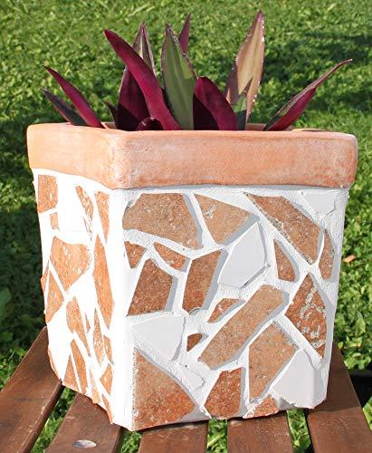 Bloempot massief handwerk 20,5 cm hoog met mozaïek