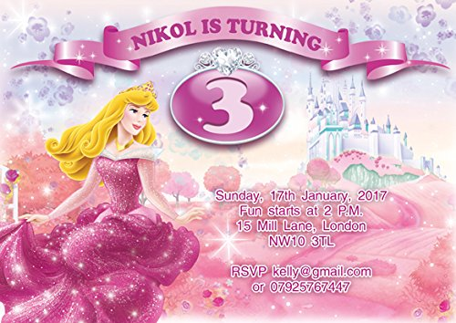 10 x Sleeping Beauty personnalisés enfants Fête d'anniversaire Invitations ou cartes de remerciement