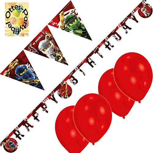 Lego-Ninjago-Deko-Set Wimpelkette Luftballon Happy Birthday-Banner