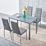 Panana Modern Gorgeous Glass Dinning Table With 4 Faux Leather Chairs Set (Grey, 105CM)