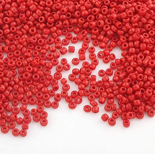 6500 Stücke Glas Rocailles Perlen 2mm Opak, Matt, 11/0, Pony Perlen, Opak gelüstert, Opaque Seed Beads, Farbauswahl (Rot)