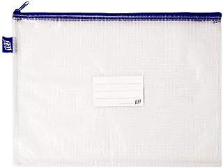 Pasta Zíper com Costura - Ofício - PVC - Transparente AZUL