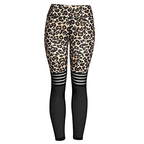 BGDRR Frauen-Gamaschen-reizvoller Leopard Leggings mit hohen Taille Fitness Workout Leggins Frauen Mesh-Patchwork Jeggings Gym Kleidung (Color : Leopard, Size : S)