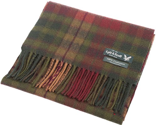 Lyle & Scott Unisex Cashmere Scarf In Buchanan Autumn Tartan Design 25.5 cm Wide