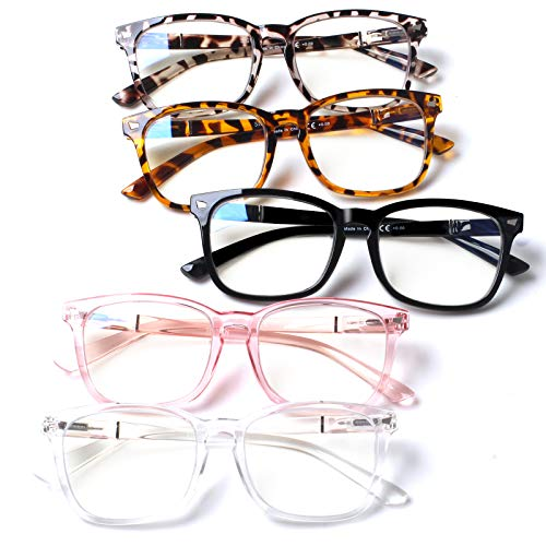 Paquete de 5 anteojos de lectura con bloqueo de luz azul a la moda, cuadrados, gafas de ordenador, para mujeres y hombres, cómodas para leer, juegos de televisión, 5 MIX., M