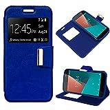 iGlobalmarket Funda Flip Cover Tipo Libro con Tapa para Vodafone Smart N8 Liso Azul