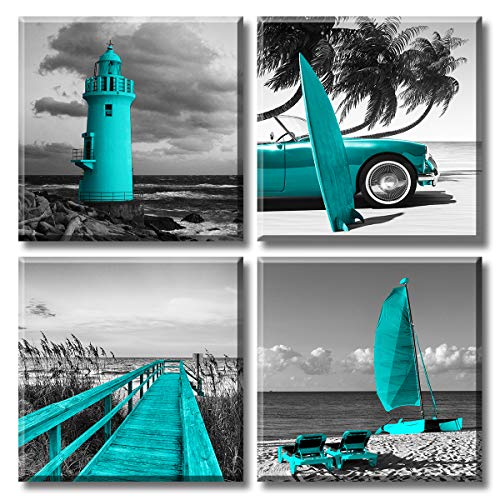 Beach Coastal Canvas Wall Art for Bedroom Decor Teal Ocean Lighthouse Painting Palm Tree Surfboard Trestle Picture Prints Seacoast Black and White Seascape Poster for Bathroom Dining Room Decoration