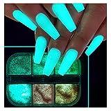 6 Grids Night Pigment Ultrafine Glitter Glow Luminous Mermaid Powder Nail Art Dust Luminous Decor Sugar Coating Glow in The Dark