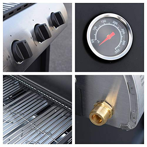 Beneffito LOFOTEN Outdoor Gas Barbecue 3 Burners 8.4 kW on Wheels with Lid, 2 Chrome Steel Grills, 2 Side Shelves, 1 Low…