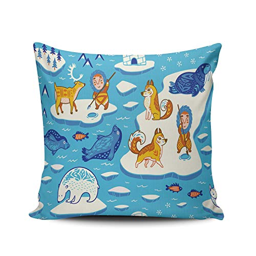 phjyjyeu Funda de almohada decorativa para sofá del Polo Norte, diseño de animales salvajes, 61 x 60 cm, cuadradas, fundas de cojín de doble cara, estampado (juego de 1) 45,7 x 45,7 cm