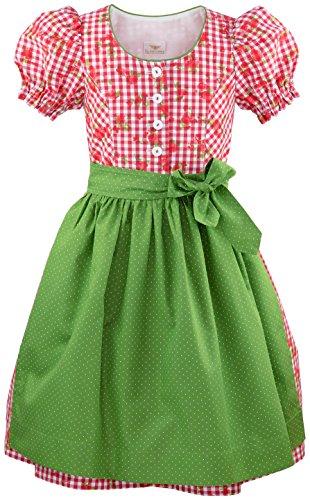 h.moser ® Mädchen Kinderdirndl 2-Teile Trachtenkleid in Rot Weiß Dirndl Grüne Schürze - Marken - Dirndl Set- Grösse: 134