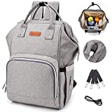 Diaper Bag Backpack, Anti-Water Maternity Nappy Changing Bags with Insulated Feeding Bottle Pockets & Stroller Straps, Large Capacity Care Travel Backpack Built-in USB Charging Port (Gray)