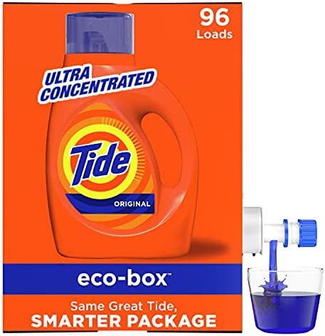 Tide Liquid Laundry Detergent Soap Eco-Box, Ultra Concentrated High Efficiency (HE), Original Scent, 96 Loads