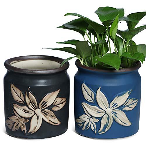 Black and Blue Ceramic Planter Rustic Flower Pot Garden Plant Container Indoor...