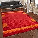 Paco Home Teppich Handgewebt Gabbeh Qualität 100% Wolle Bordüre Meliert In Orange Gelb, Grösse:160x230 cm
