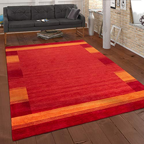 Paco Home Tapis Tissé Main Gabbeh Qualité 100% Laine Bordure Chiné Orange Jaune, Dimension:160x230 cm